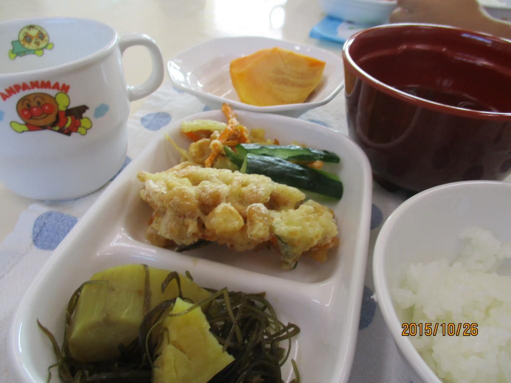 さつま芋と昆布の煮物&大豆のかき揚げ