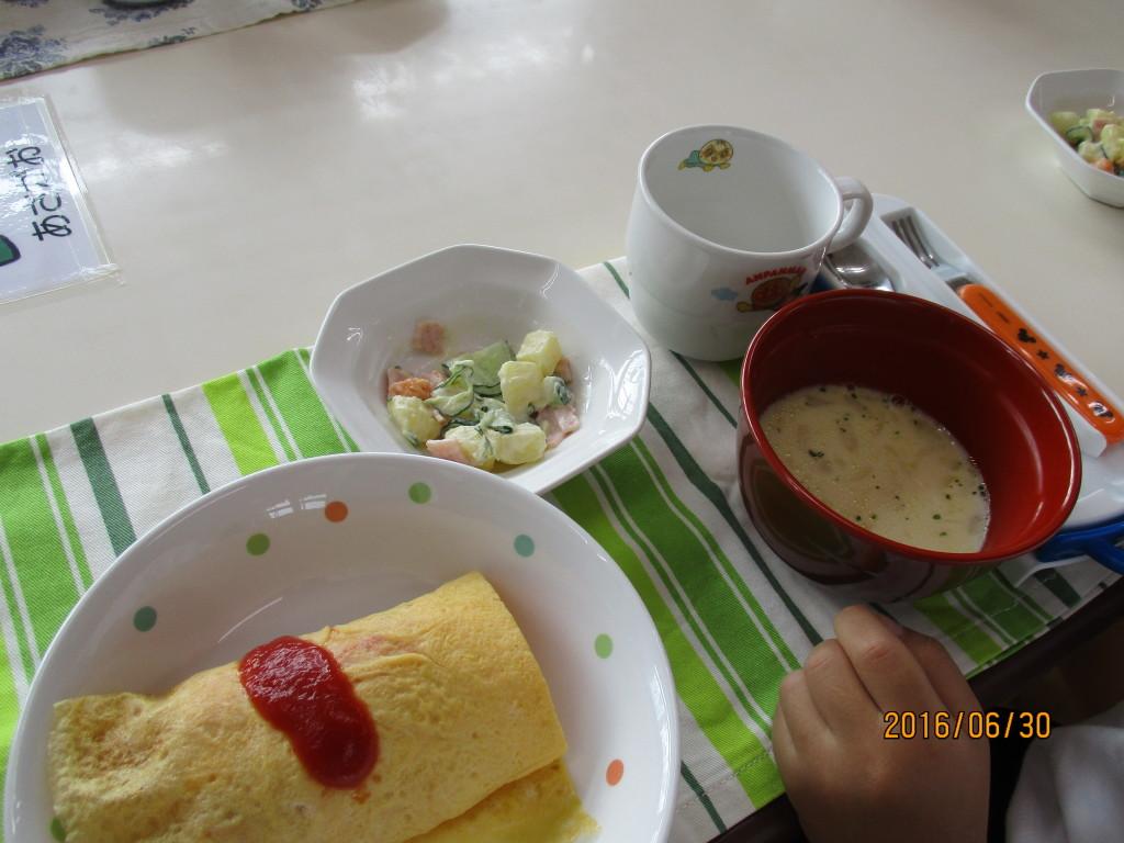 オムライス・ポテトサラダ&クリームスープ